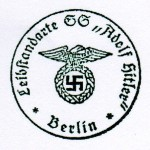 Leibstandarte S.S. Adolf Hitler. Early pattern eagle rubber hand stamp.