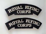 Royal Flying Corps cloth shoulder titles. PAIR.
