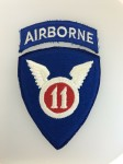 U.S. WW2 11th Airborne Division patch complete with Airborne tab