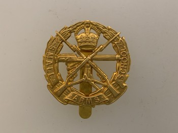 British Army Small Arms School Corps metal cap or beret badge.
