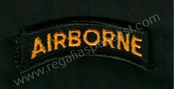 U.S. Vietnam period Airborne cloth shoulder title. Gold on Black