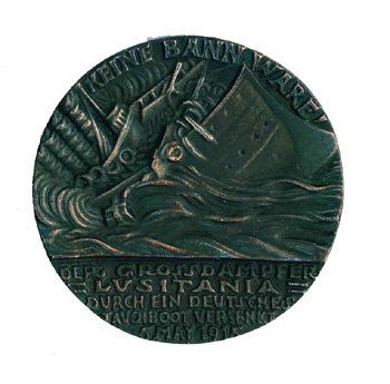 Goetz medallion commemorating the sinking of the Lusitania. ENGLISH ISSUE BRONZED