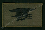 U.S. Navy SEAL qualification wings. Black on olive drab