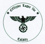P.O.W. Officer Camp 1VC 'COLDITZ' military rubber hand stamp.