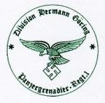 Panzergrenadier Regiment 1- Hermann Goring Division military rubber hand stamp.