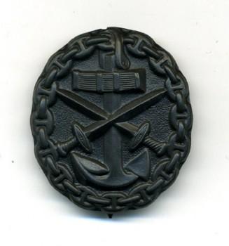 Imperial German WWI Naval  Wound Badge in Black