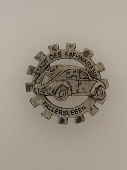 Volkswagen lapel  badge of the V.W. works at Fallersleben  in silver.