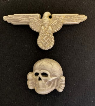 Waffen S.S. M1938 metal  cap eagle and skull insignia set.  SUPERIOR QUALITY,