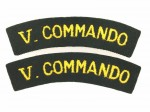 British Army WWII 'V Commando'  cloth shoulder titles.  PAIR.