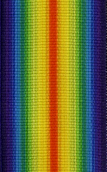 Medal ribbon for British WWI Victory Medal .  35mm wide.