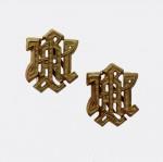 Superior Quality 'L.A.H.' metal cyphers for 'Leibstandarte Adolf Hitler ' shoulder boards in  golden brass finish.
