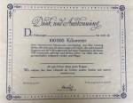 Third Reich period 1930s  Volkswagen VW 100,000 Kilometres certificate