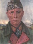 Framed portrait printed picture of Erwin Rommel.