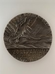 Goetz medallion commemorating the sinking of the Lusitania. ENGLISH ISSUE GREY METAL