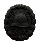 SPANISH CIVIL WAR WOUND BADGE- BLACK: SOLID TYPE. SUPERIOR QUALITY.