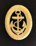 Vintage WWII German Kriegsmarine Navy Officer of the Watch Metal Badge with lug fittings.