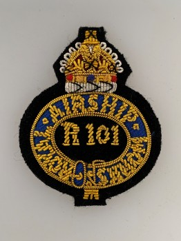 British R101 Royal Airship Works Officers Embroidered cap badge.