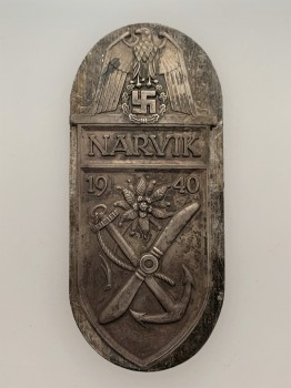 WW2 German Narvik Battle Shield in Silver ORIGINAL QUALITY