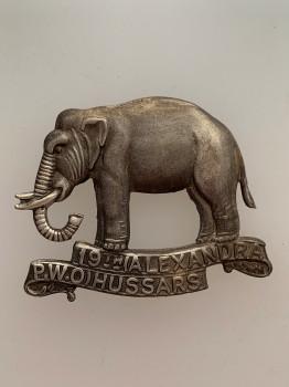 19th Alexandra P.W.O. Hussars metal cap badge ANTIQUED.