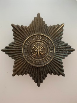 LARGE 82mm British Army Irish Guards Metal Badge in heavily tarnished brass.