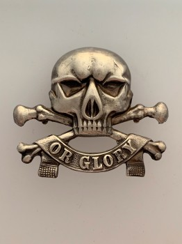 17th Lancers metal cap badge. ANTIQUED FINISH.
