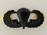 U.S. Army Parachute Paratrooper metal jump wings. Full size. BLACK SUBDUED  ISSUE